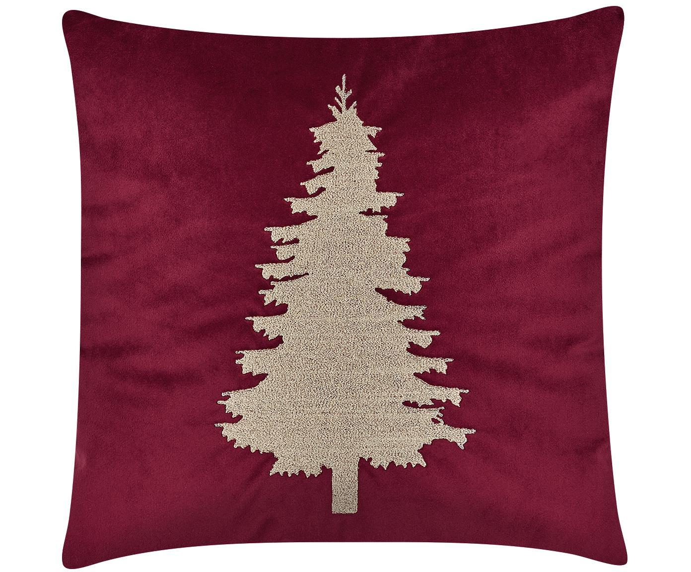 Geborduurde fluwelen kussenhoes Tree met kerstboom motief, Rood, 40 x 40 cm