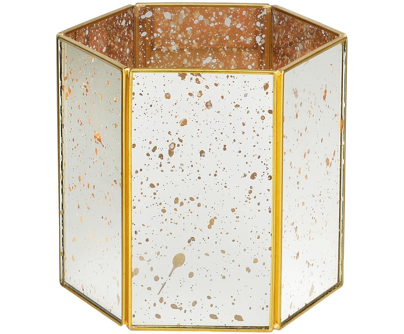 Portacandela di lastre di vetro Nanna, Cornice: ottone, Ottone, L 15 x A 14 cm