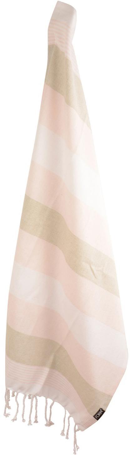 Theedoeken Hanny, 2 stuks, Katoen, Roze, beige, gebroken wit, 50 x 70 cm