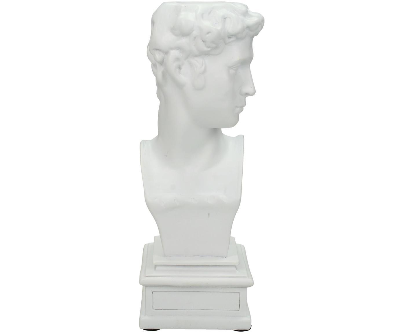 Kandelaar David, Polyresin, Wit, 9 x 22 cm