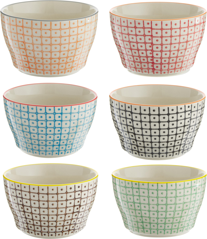 Set 6 ciotole Carla, Terracotta, Bianco, nero, giallo, rosso, arancione, Ø 11 x Alt. 7 cm