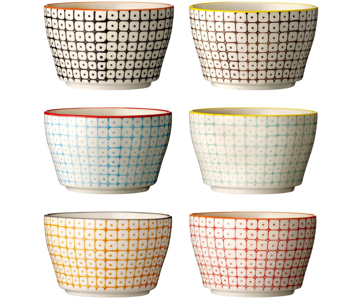 Schälchen Carla mit kleinem Muster, 6er-Set, Steingut, Weiß, Schwarz, Gelb, Rot, Orange, Ø 11 x H 7 cm