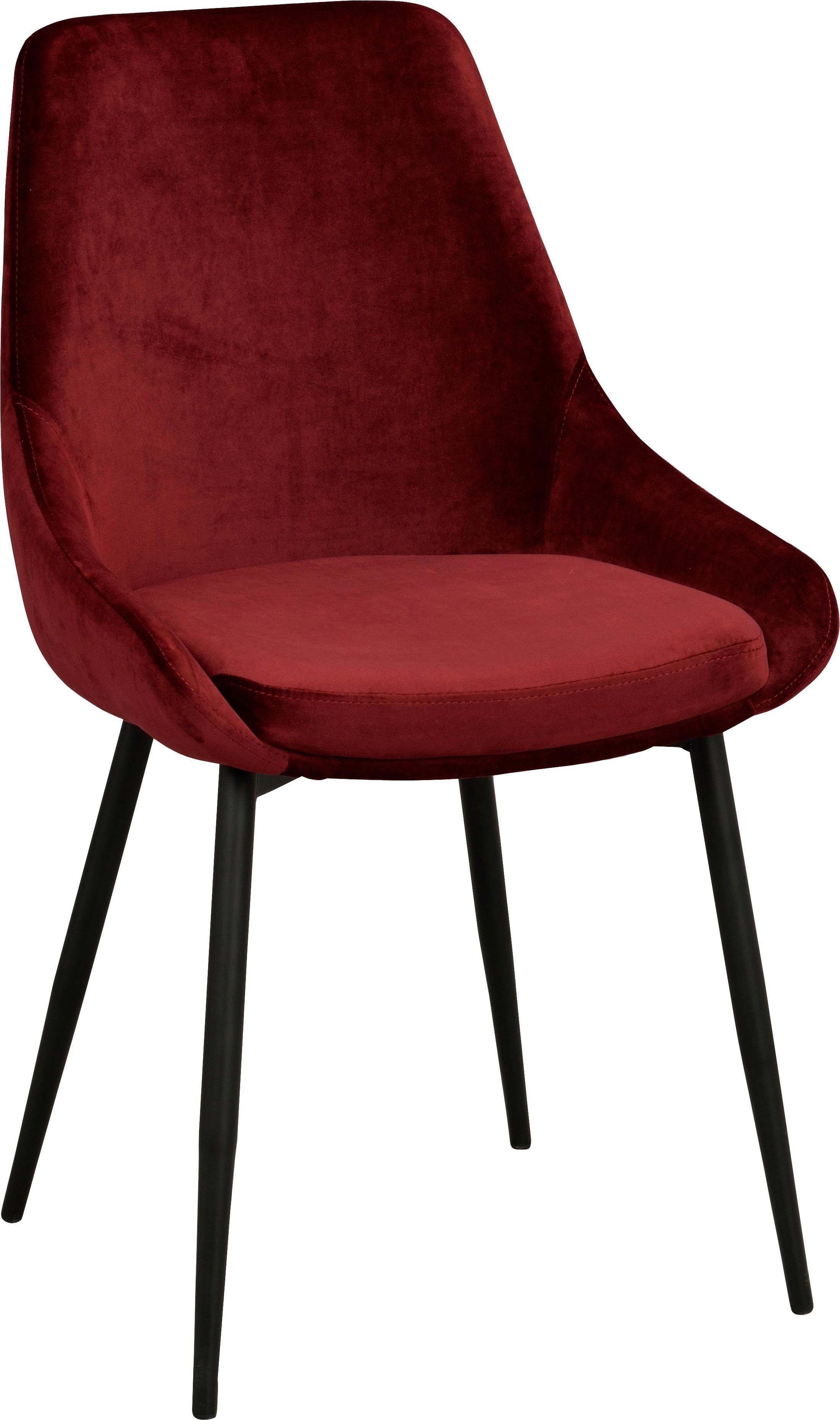 Sedia imbottita in velluto Sierra, 2 pz., Rivestimento: poliestere 100.000 cicli , Gambe: metallo laccato, Rosso, nero, Larg. 49 x Prof. 55 cm