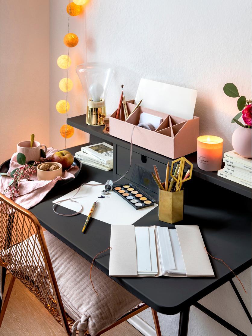 Schreibtisch Pascal mit Schublade, Beine: Metall, lackiert, Tischplatte und Aufbau: Mitteldichte Holzfaserpla, Schwarz, B 100 x T 55 cm