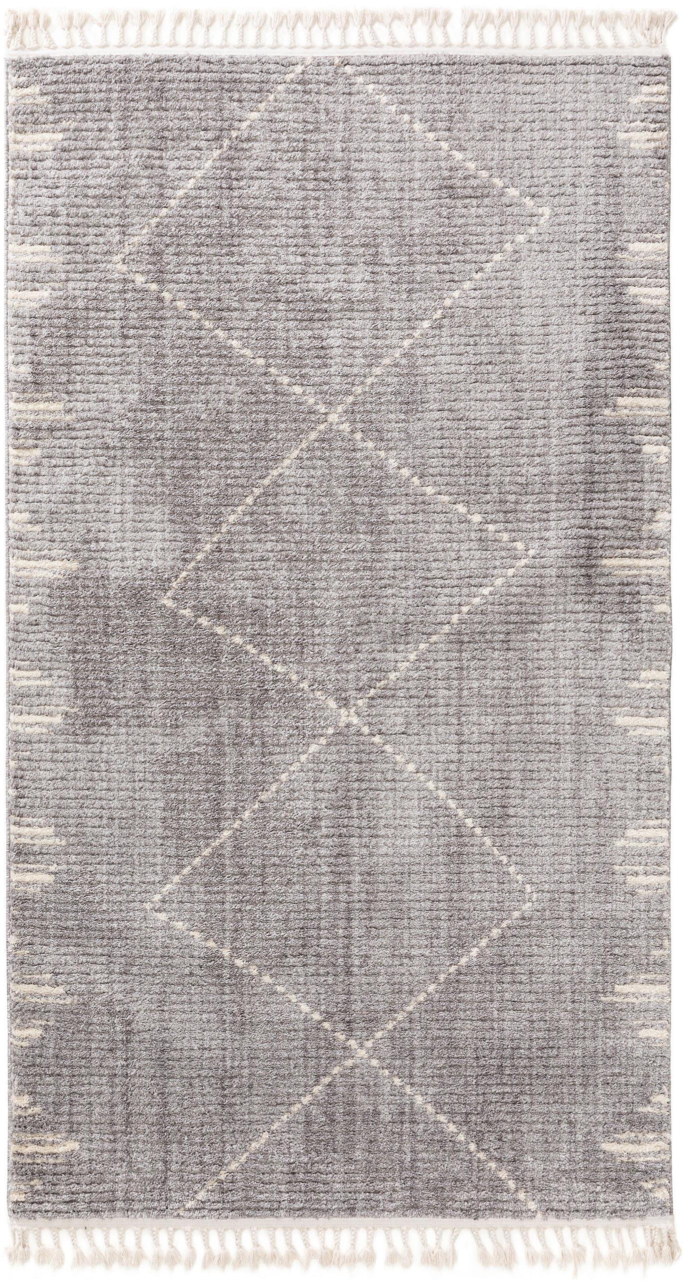 Hoogpolig vloerkleed Bosse met ruitjesmotief en franjes, 100% polyester, Grijs, crèmewit, B 80 x L 150 cm (maat XS)