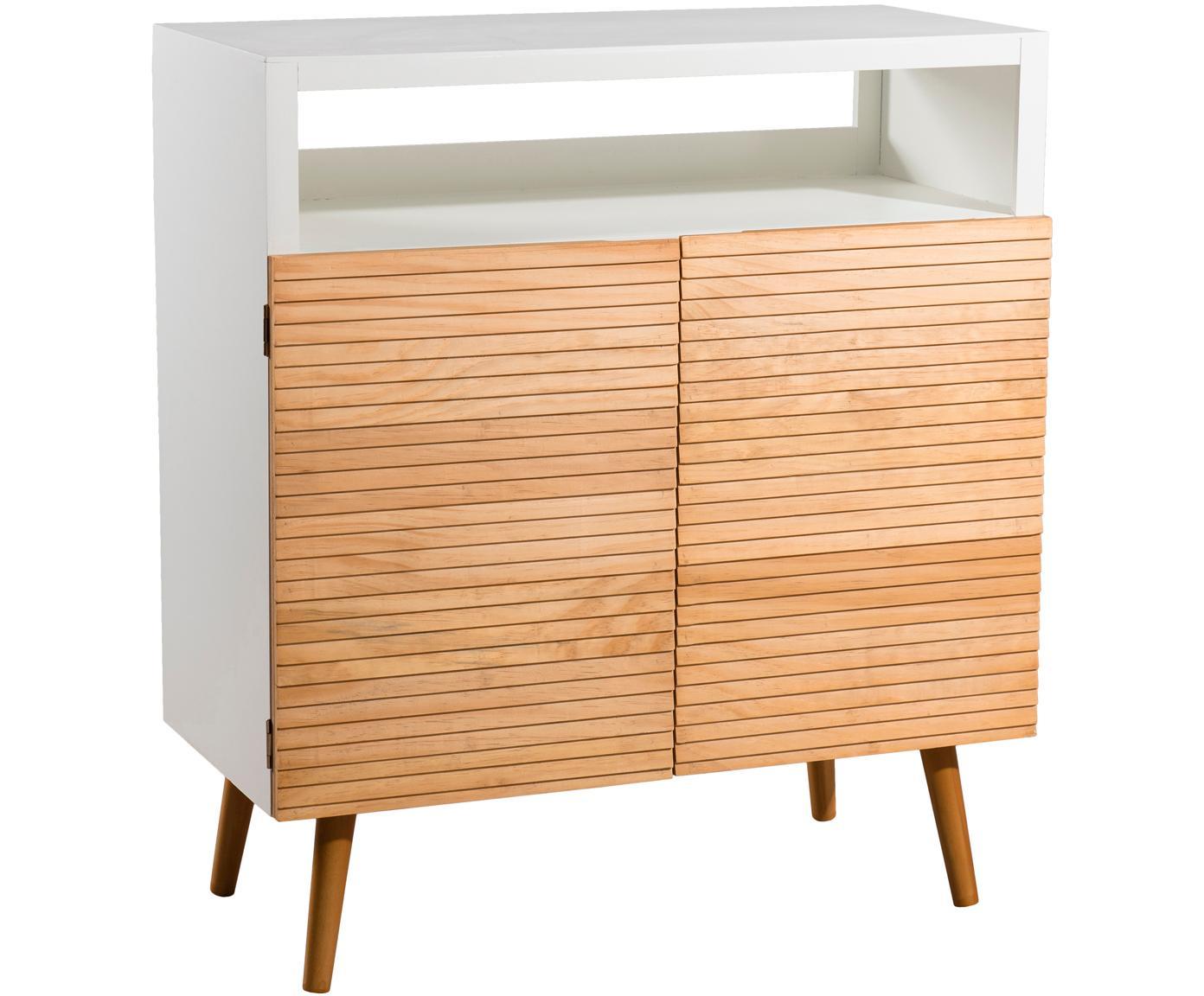 Aparador Pedro, estilo escandinavo, Estructura: tablero de fibras de dens, Blanco, madera de pino, An 80 x Al 89 cm