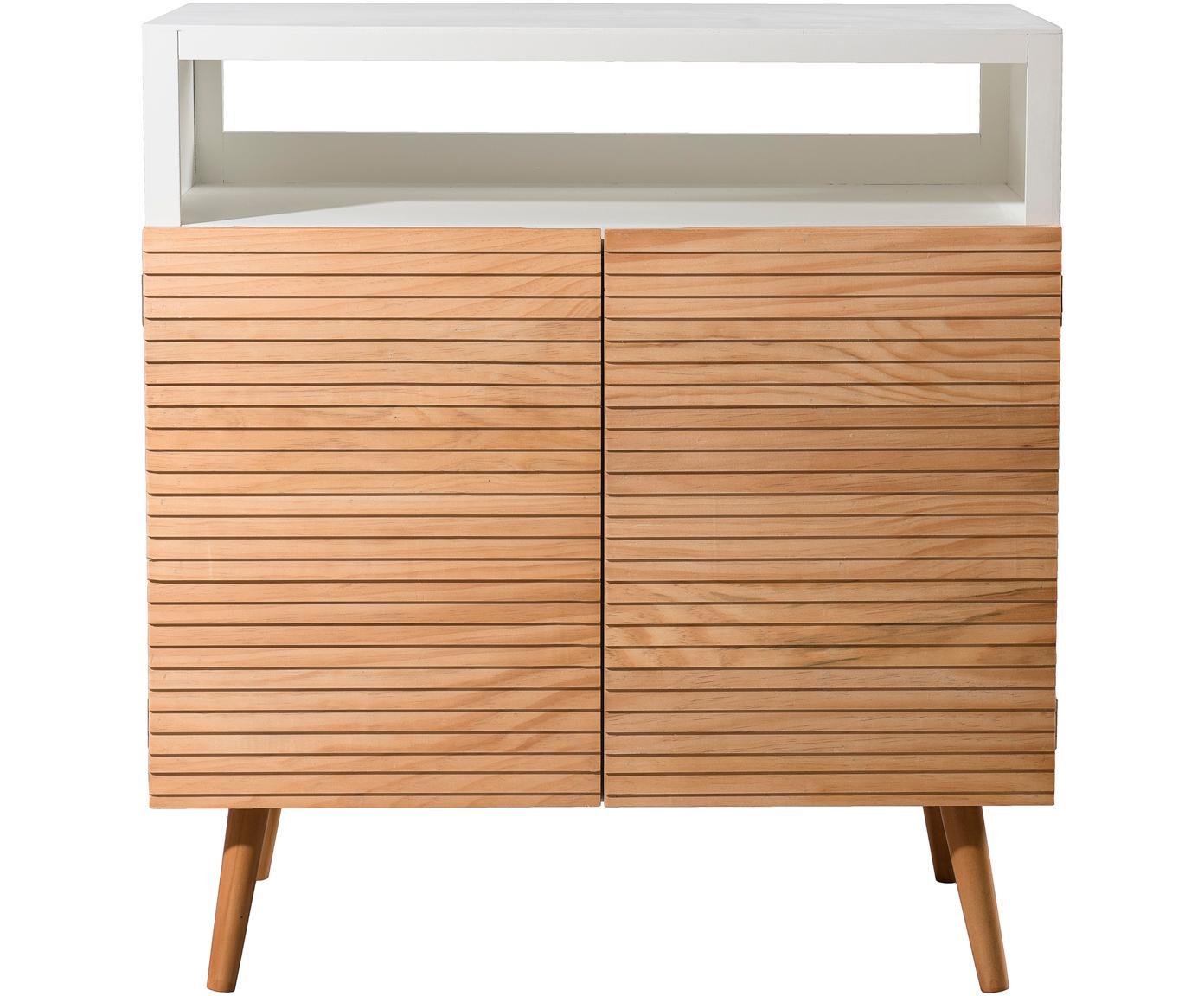 Komoda ze schowkiem Pedro, Korpus: płyta pilśniowa średniej , Biały, drewno sosnowe, S 80 x W 89 cm