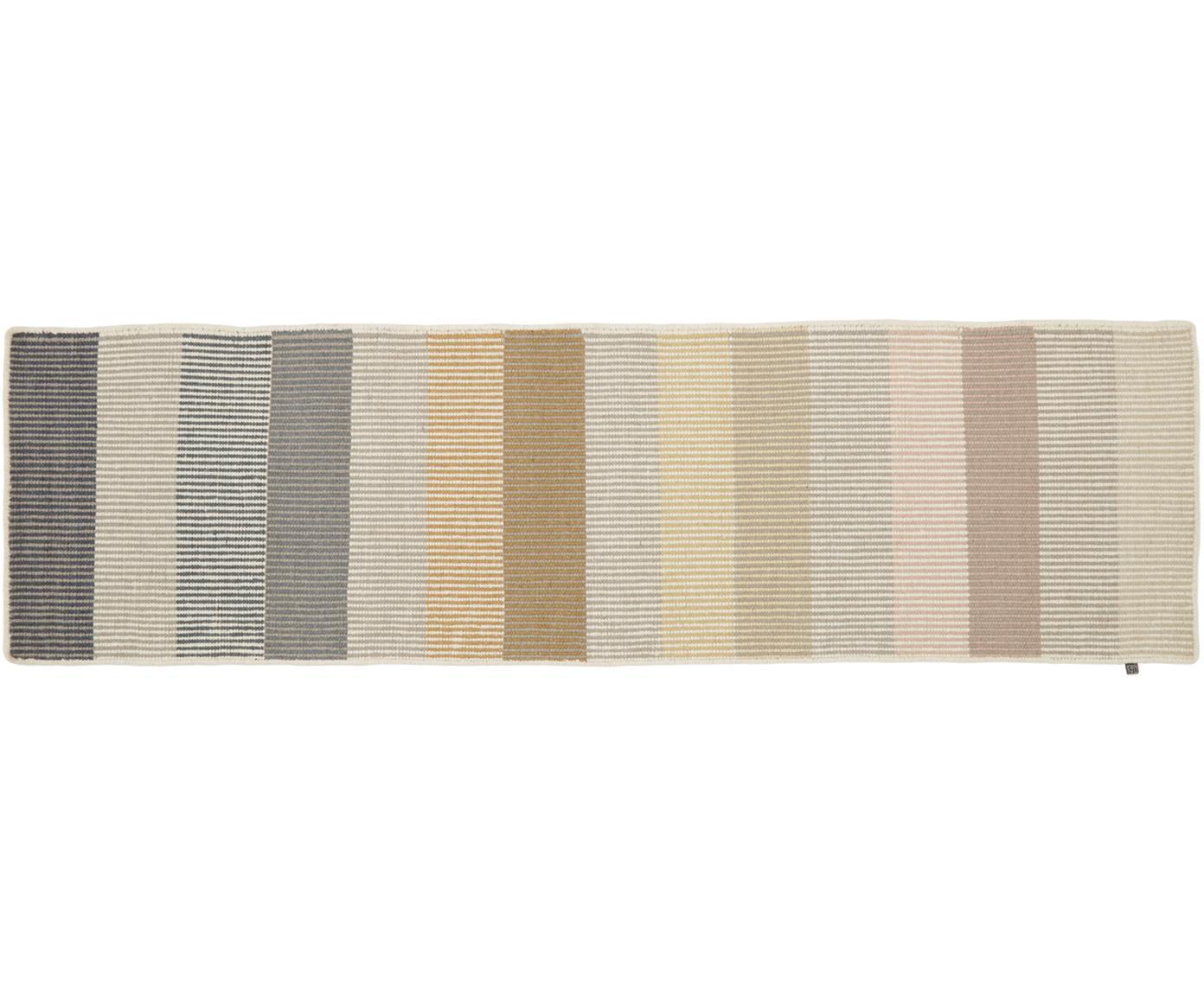 Handgeweven gestreept wollen vloerkleed Devise, Multicolour, 80 x 280 cm