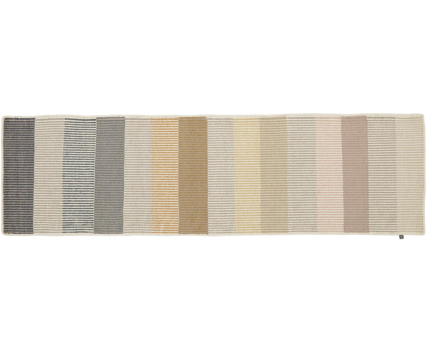Passatoia in lana a righe Devise, Multicolore, Larg. 80 x Lung. 280 cm