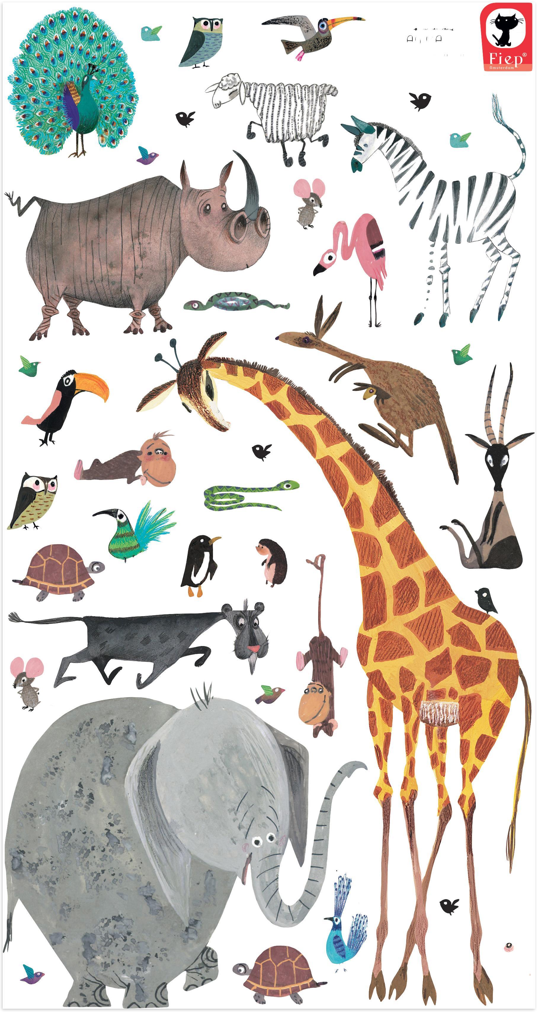 Wandstickersset Animals, 39-delig, Zelfklevende vinyl folie, mat, Multicolour, Verschillende formaten