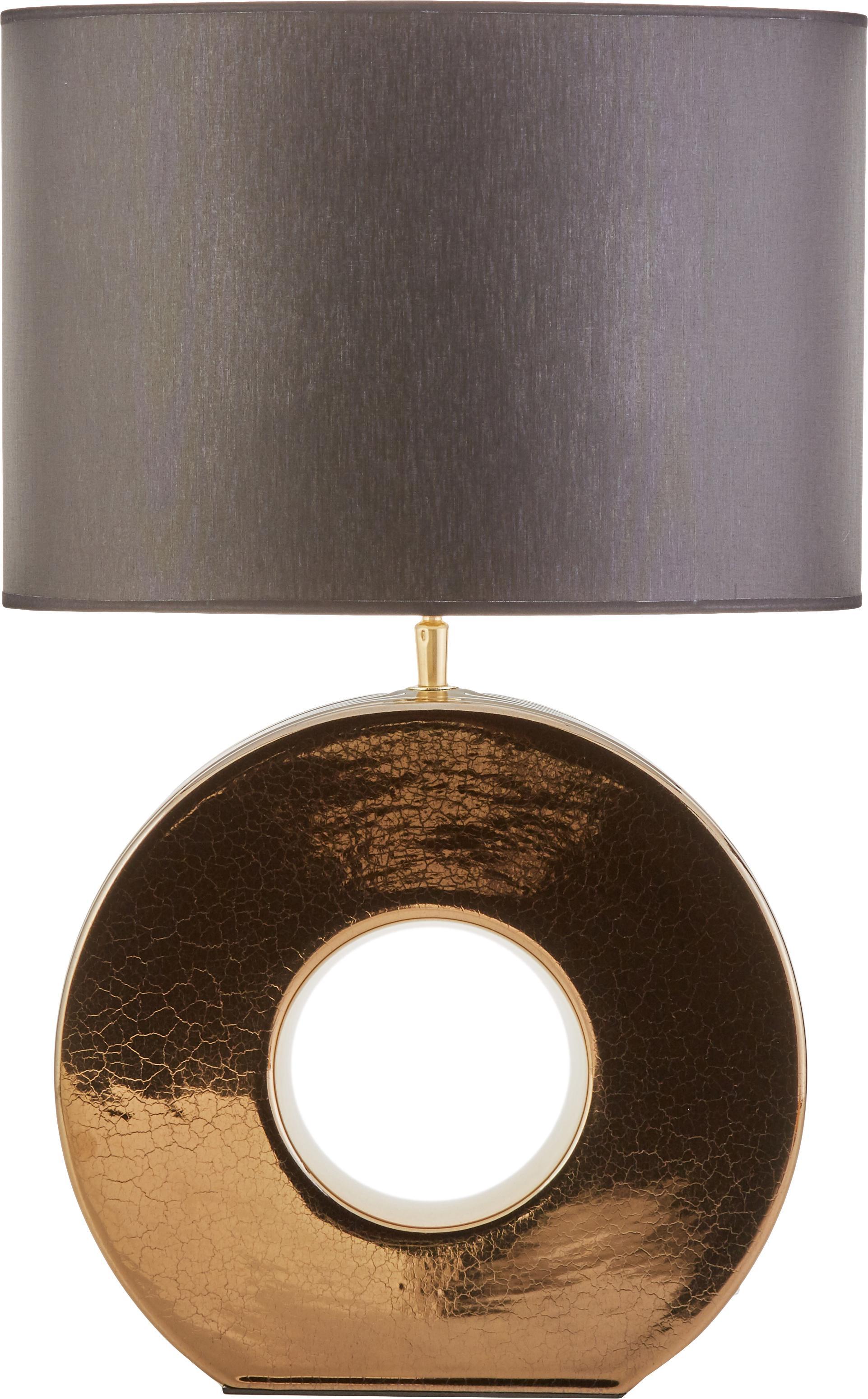 Lámpara de mesa de cerámica Aron, Pantalla: poliéster, Cable: plástico, Dorado, negro, An 35 x Al 56 cm