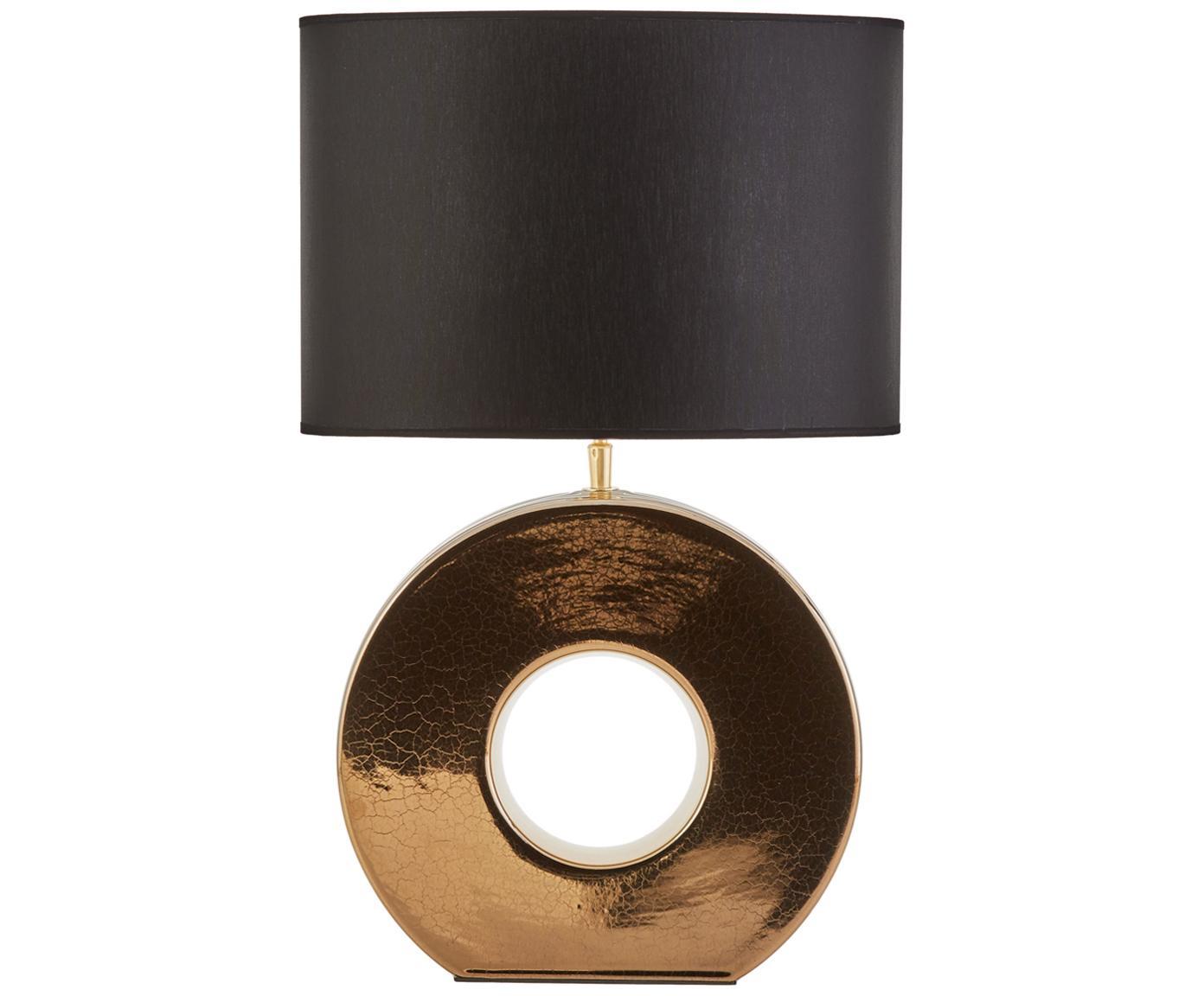 Keramik-Tischleuchte Aron, Lampenschirm: Polyester, Lampenfuß: Keramik, Goldfarben, Schwarz, 35 x 56 cm