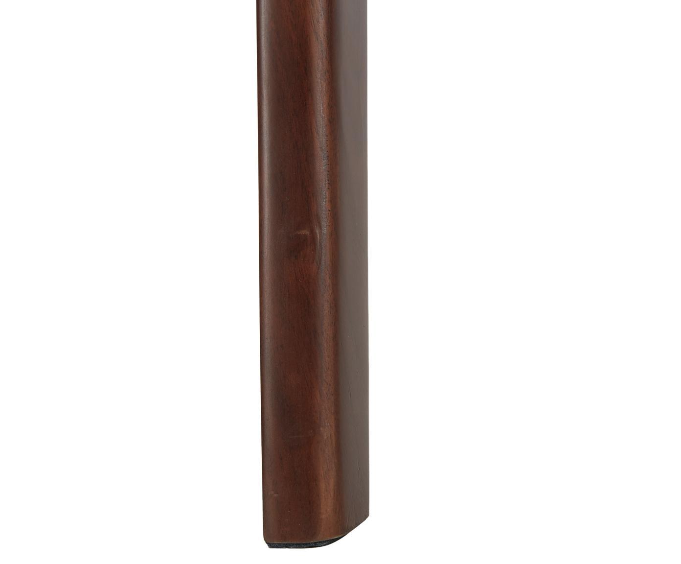 Fauteuil Becky met walnoothouten armleuningen, Bekleding: polyester, Frame: massief walnoothout, Geweven stof beige, walnoothoutkleurig, B 73 x D 90 cm