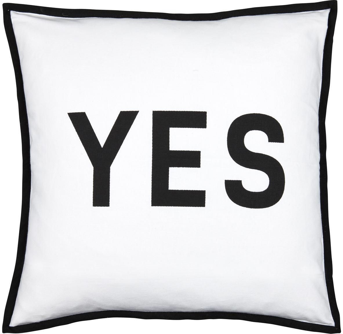 Poduszka z wypełnieniem Decision, Tapicerka: 100% bawełna, Czarny, biały, S 45 x D 45 cm
