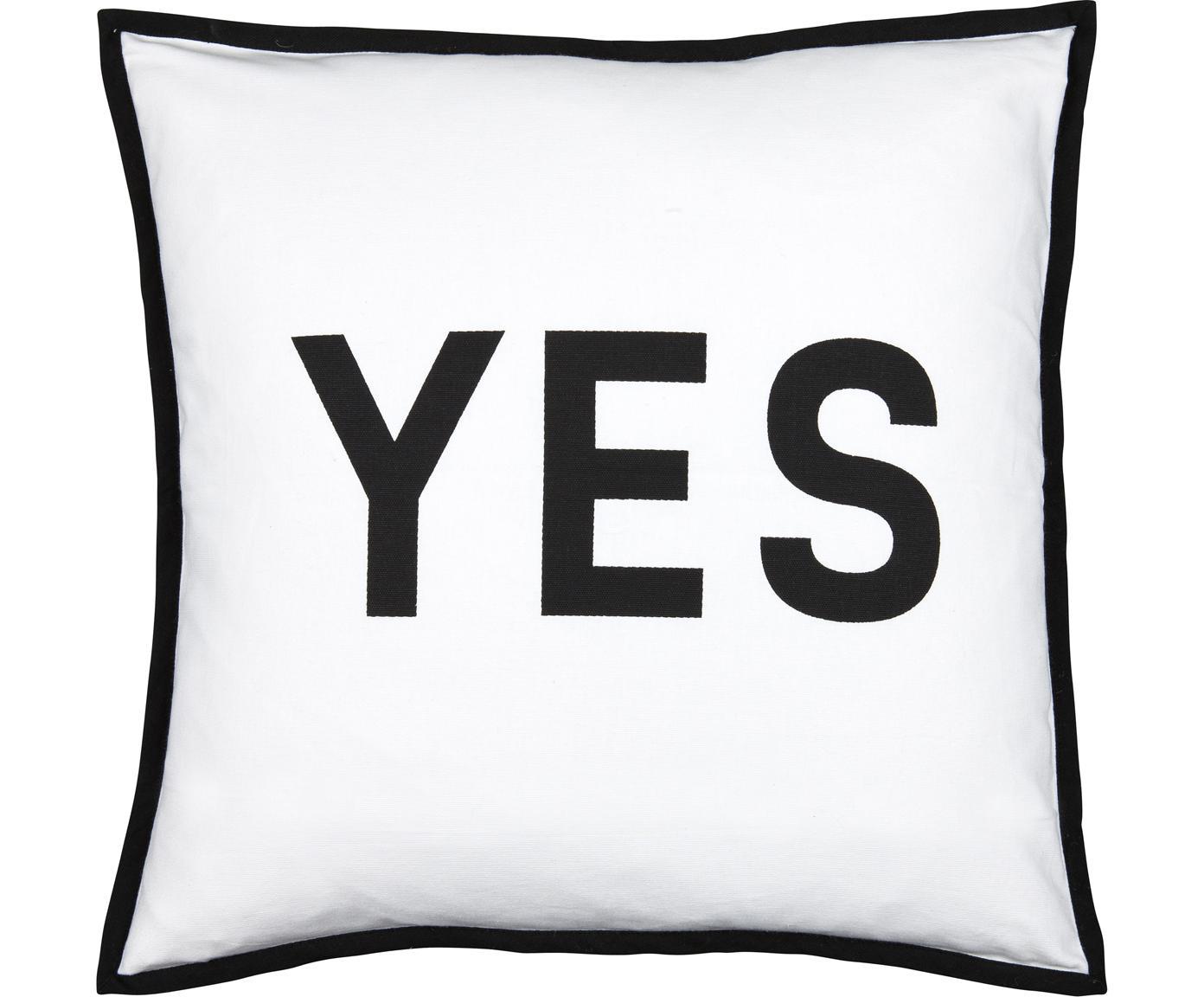 Kissen Decision mit Schriftzug, mit Inlett, Bezug: 100% Baumwolle, Schwarz, Weiss, 45 x 45 cm