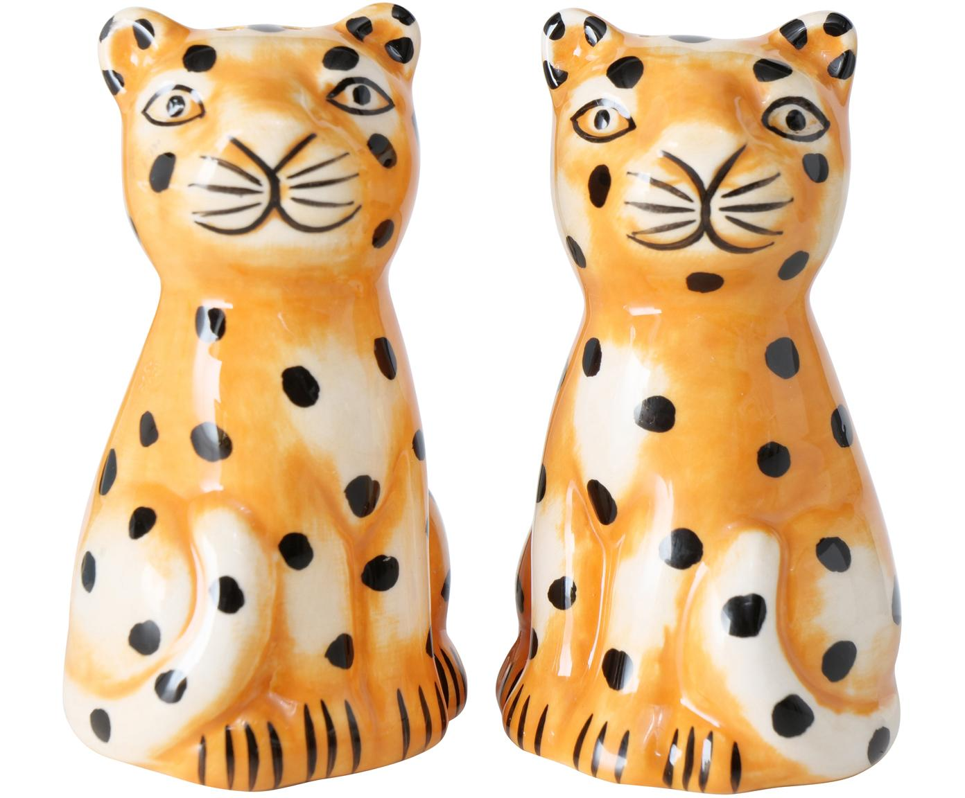 Zout- en peperstrooier Gepard, Dolomietensteen, Oranje, wit, zwart, Ø 4 x H 7 cm