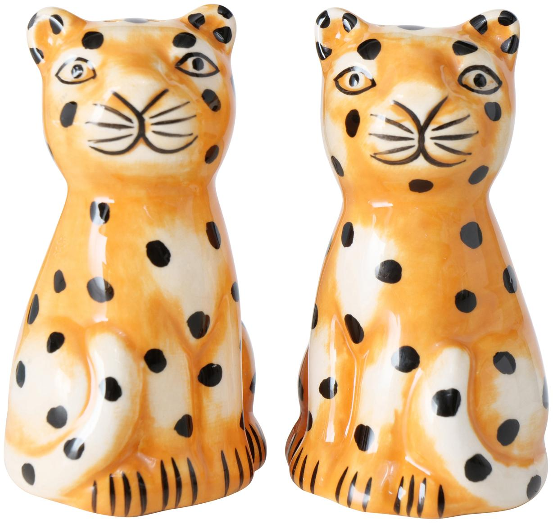 Set saliera e pepiera Gepard 2 pz, Dolomite, Arancione, bianco, nero, Ø 4 x Alt. 7 cm