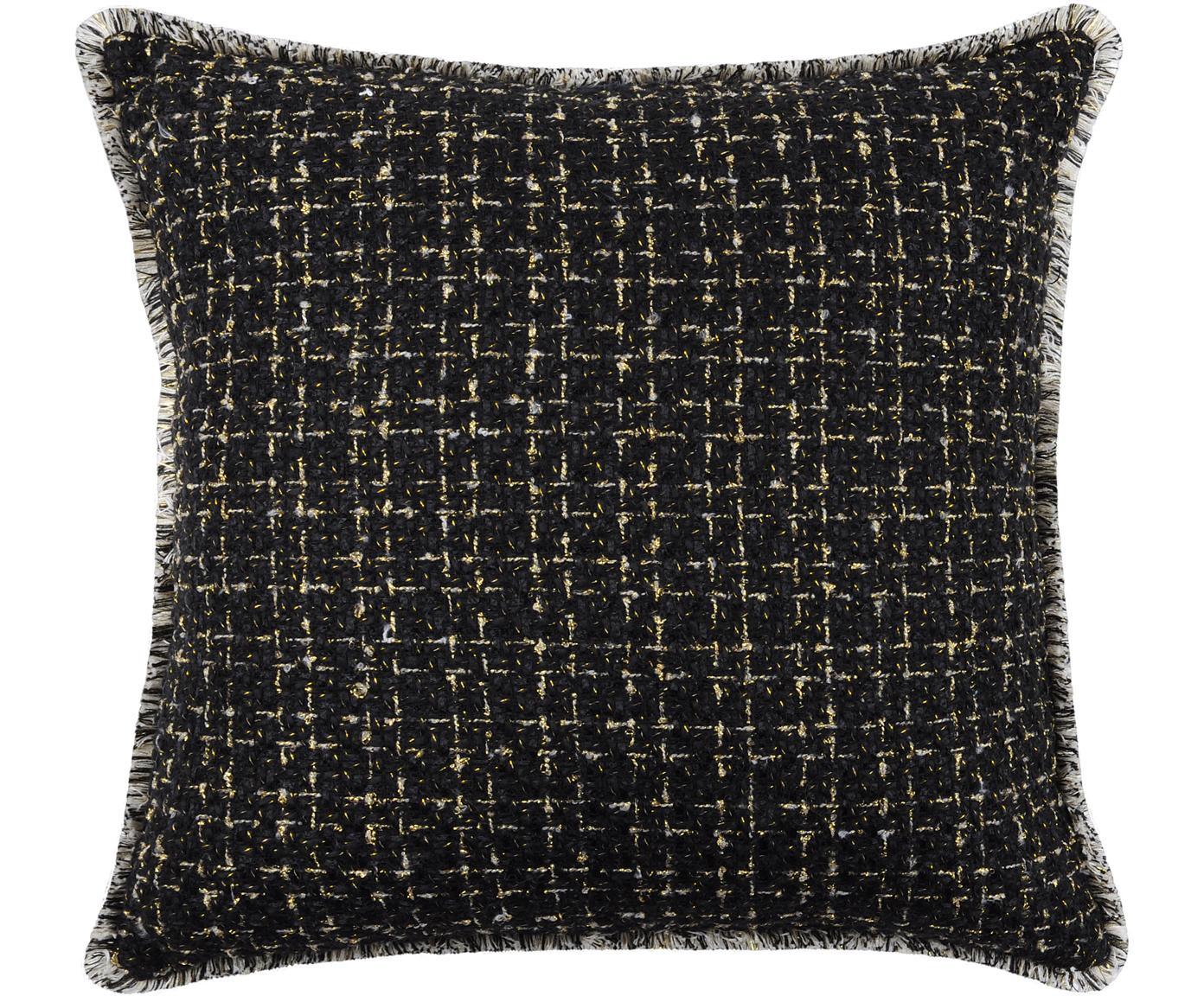 Kussenhoes Walter, 50% katoen 50% polyester, Zwart, goudkleurig, 40 x 40 cm