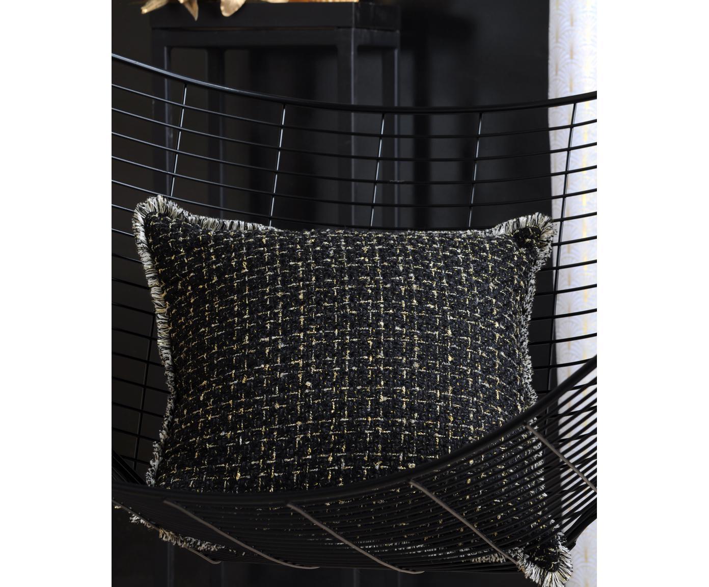 Kissenhülle Walter mit Fransenabschluss und goldenen Verzierungen, 50% Baumwolle, 50% Polyester, Schwarz, Goldfarben, 40 x 40 cm