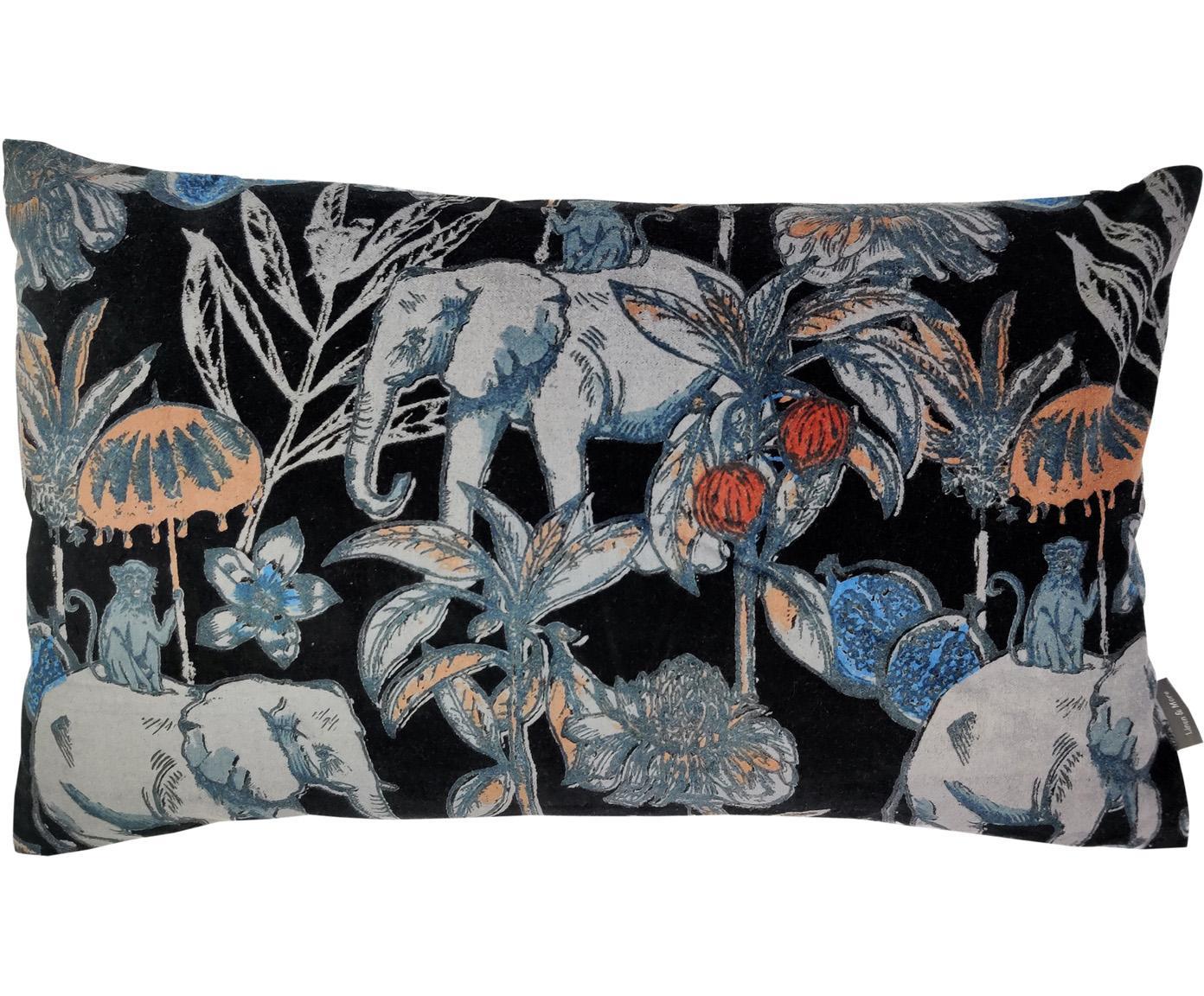 Samtkissen Elephant, mit Inlett, Bezug: 100% Baumwolle, Schwarz, Mehrfarbig, 30 x 50 cm