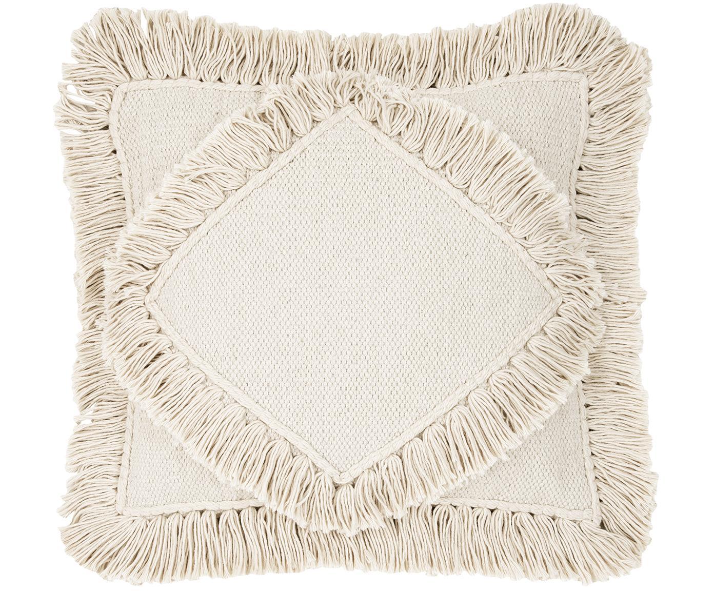 Kissenhülle Kaheka, 100% Baumwolle, Ecru, 45 x 45 cm