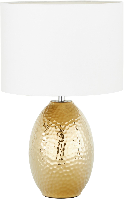 Tischlampe Eleanora in Weiss-Gold, Lampenschirm: Textil, Weiss, Goldfarben, Ø 20 x H 47 cm