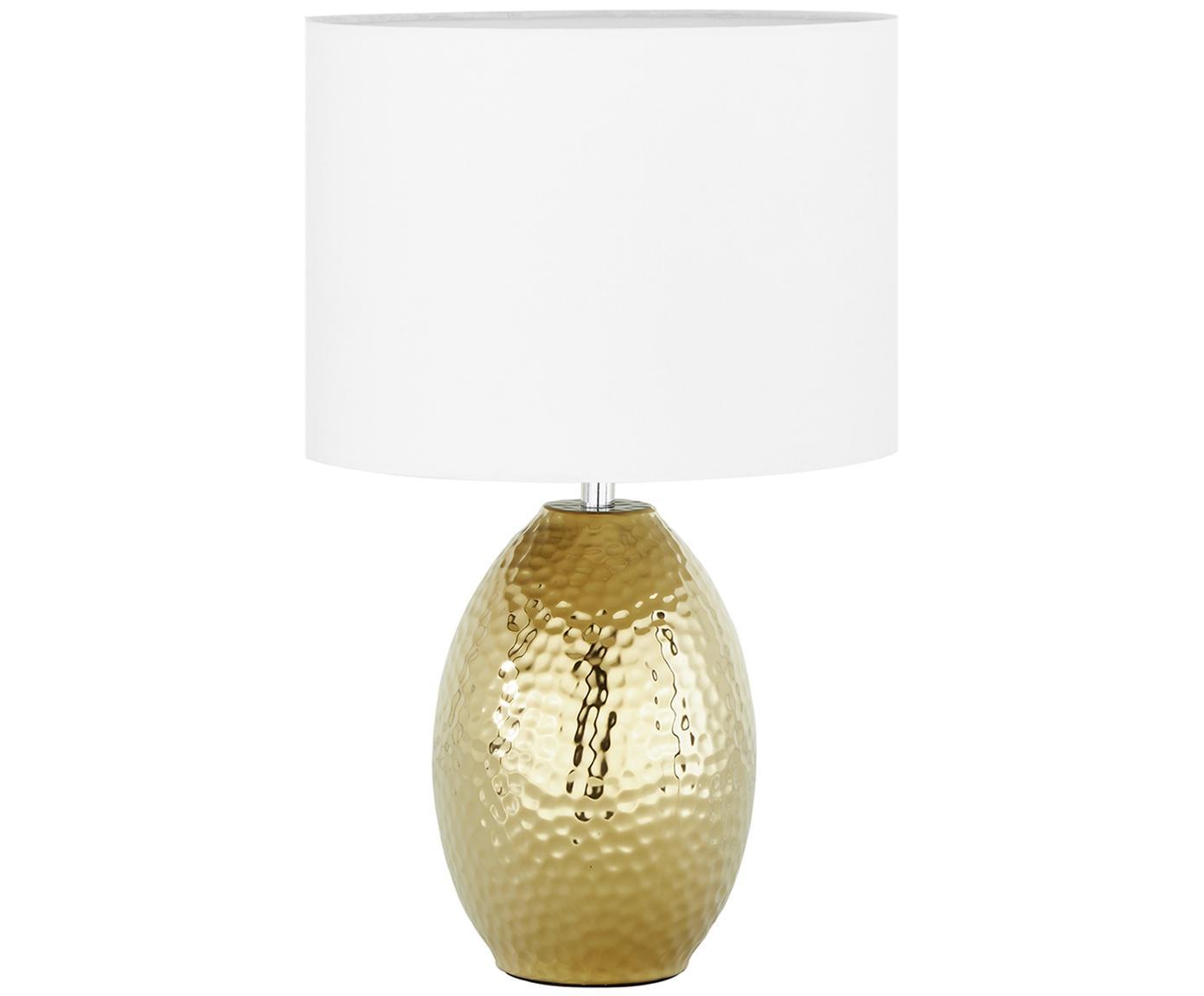 Tischleuchte Eleanora, Lampenschirm: Textil, Lampenfuß: Keramik, Weiß, Goldfarben, Ø 20 x H 47 cm