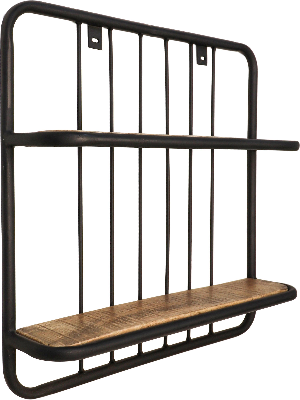 Ripiano a muro in stile industriale Hilly, Ripiani: legno di mango, Struttura: metallo verniciato a polv, Marrone, nero, Larg. 50 x Alt. 50 cm
