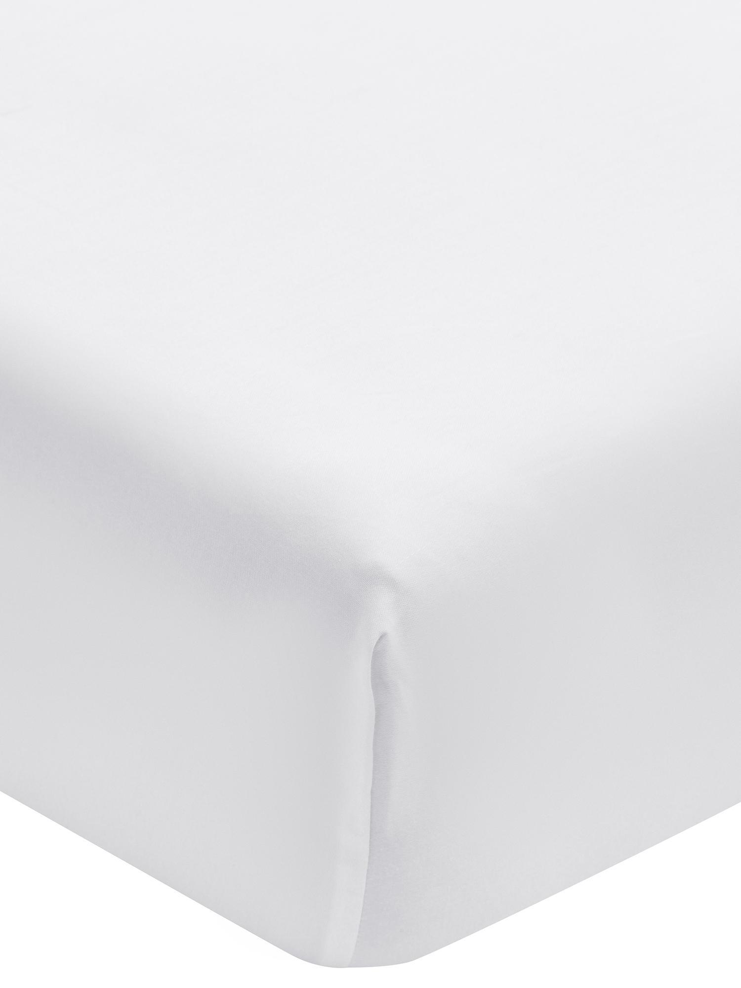 Spannbettlaken Premium in Weiß, Baumwollsatin, Webart: Satin, leicht glänzend, Weiß, 160 x 200 cm