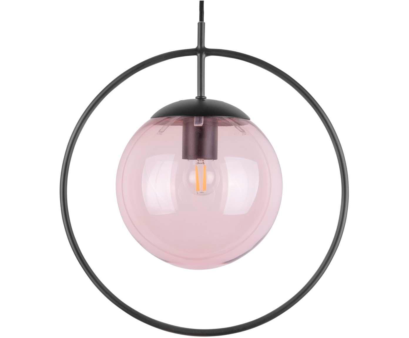 Pendelleuchte Round mit gefärbtem Glasschirm, Lampenschirm: Glas, Schwarz, Rosa, 35 x 30 cm