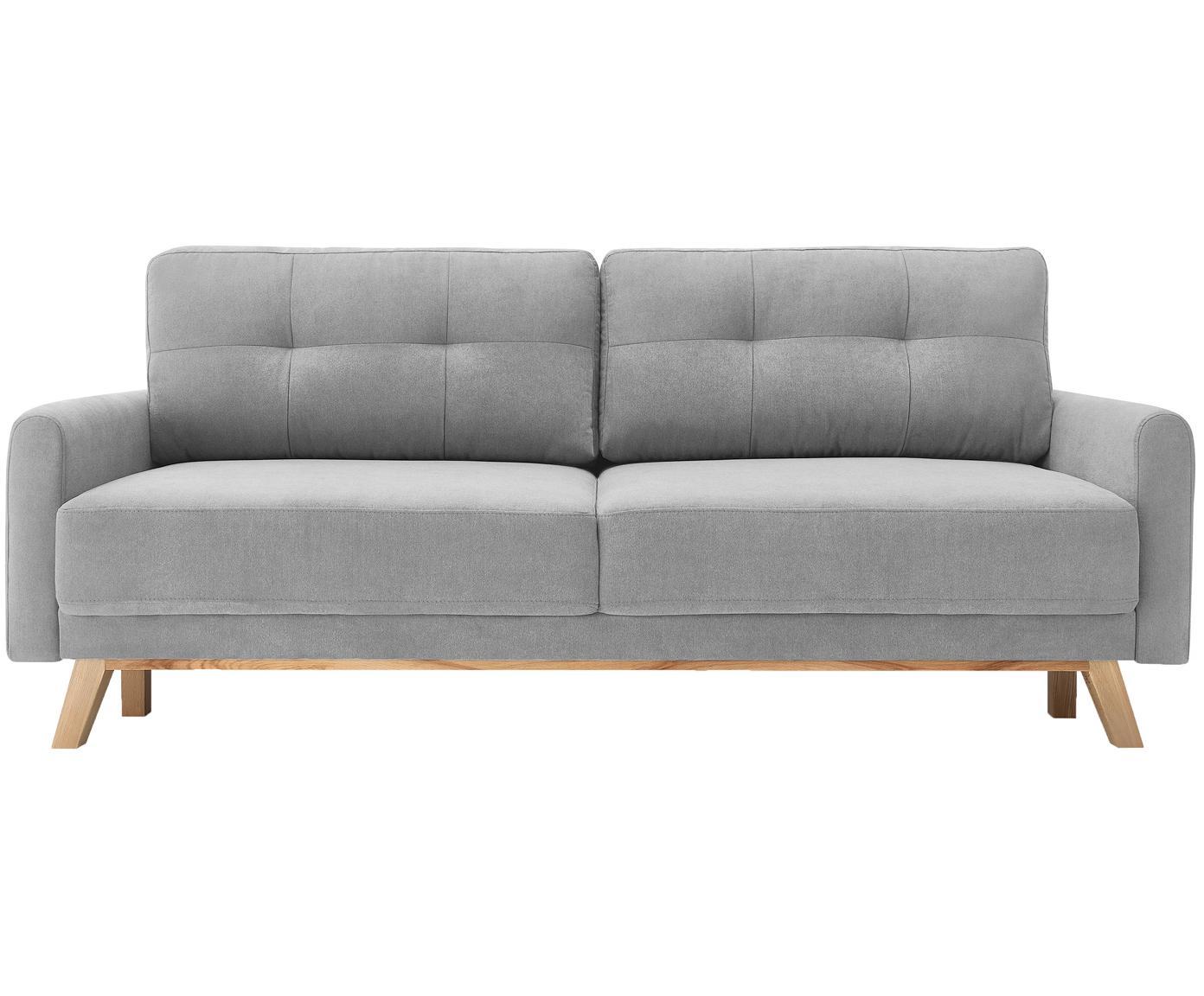 Samt-Schlafsofa Balio (3-Sitzer), Bezug: 100% Polyestersamt, Füße: Metall, lackiert, Rahmen: Massivholz und Spanplatte, Samt Hellgrau, B 216 x T 86 cm