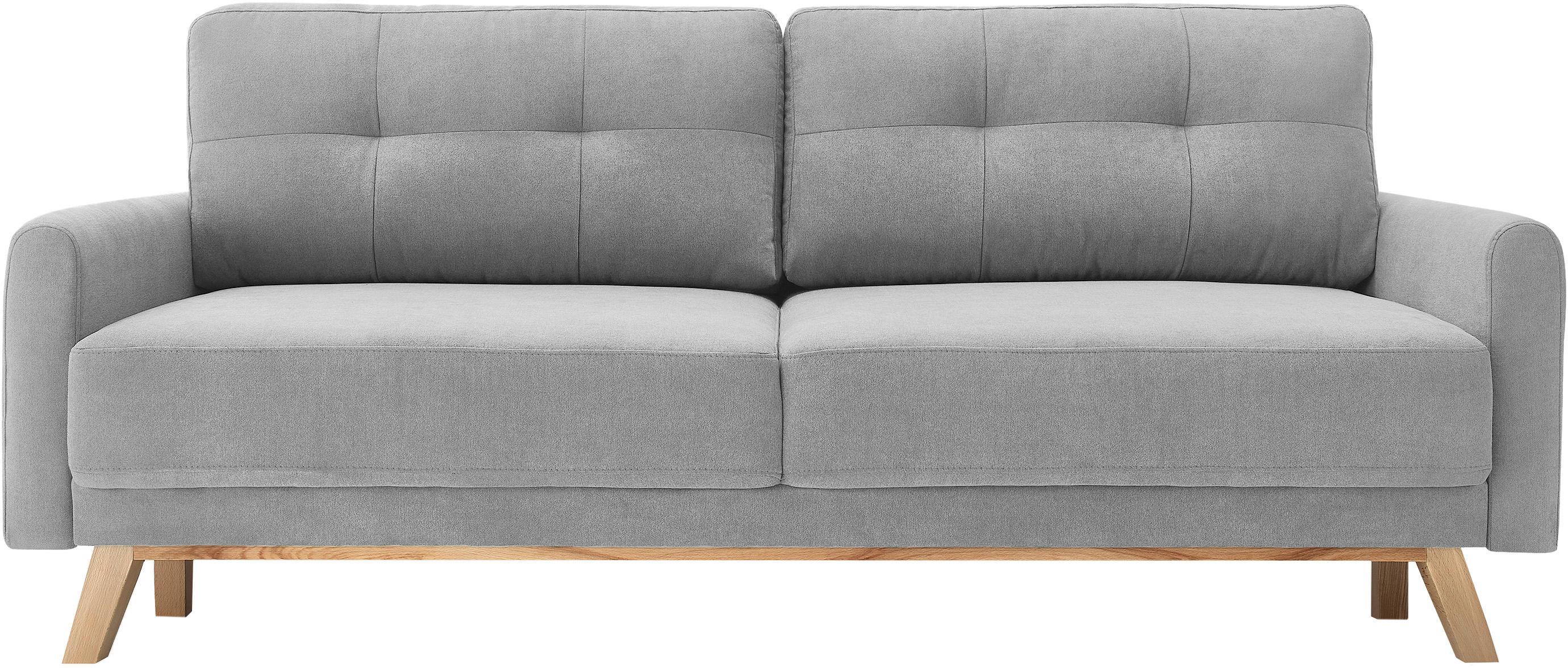 Fluwelen slaapbank Balio (3-zits), Bekleding: 100% polyester fluweel, Poten: gelakt metaal, Frame: massief hout en spaanplaa, Fluweel lichtgrijs, B 216 x D 86 cm