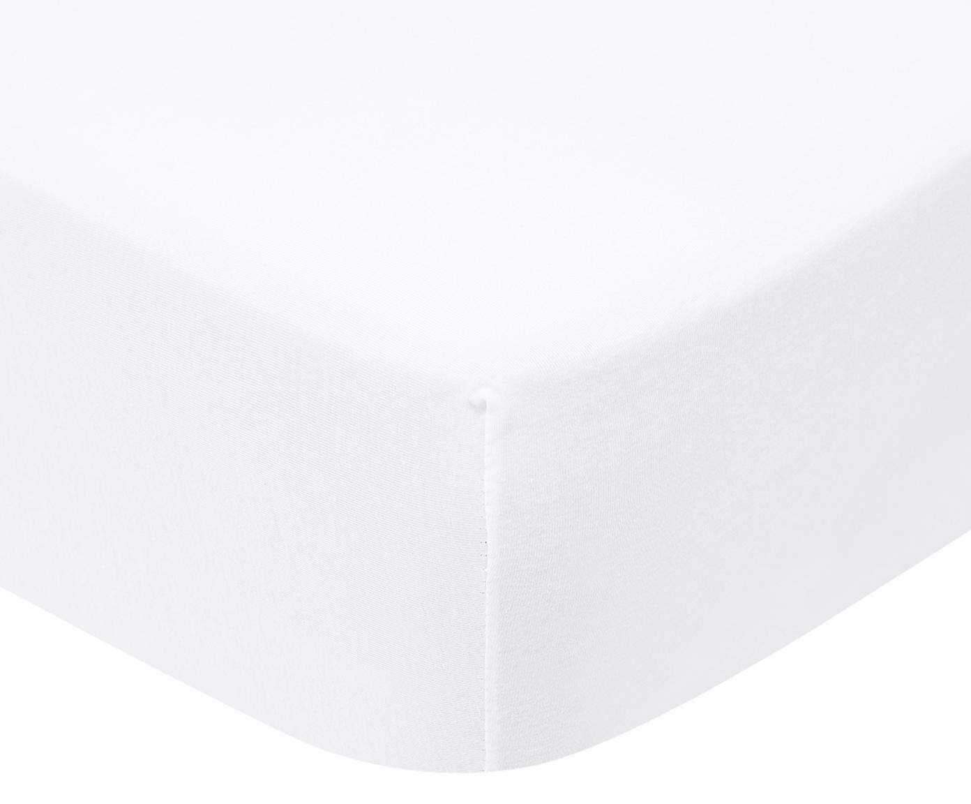 Sábana bajera para boxspring de jersey con elastano Lara, 95%algodón, 5%elastano, Blanco, Cama 90 cm (90-100 x 200 cm)
