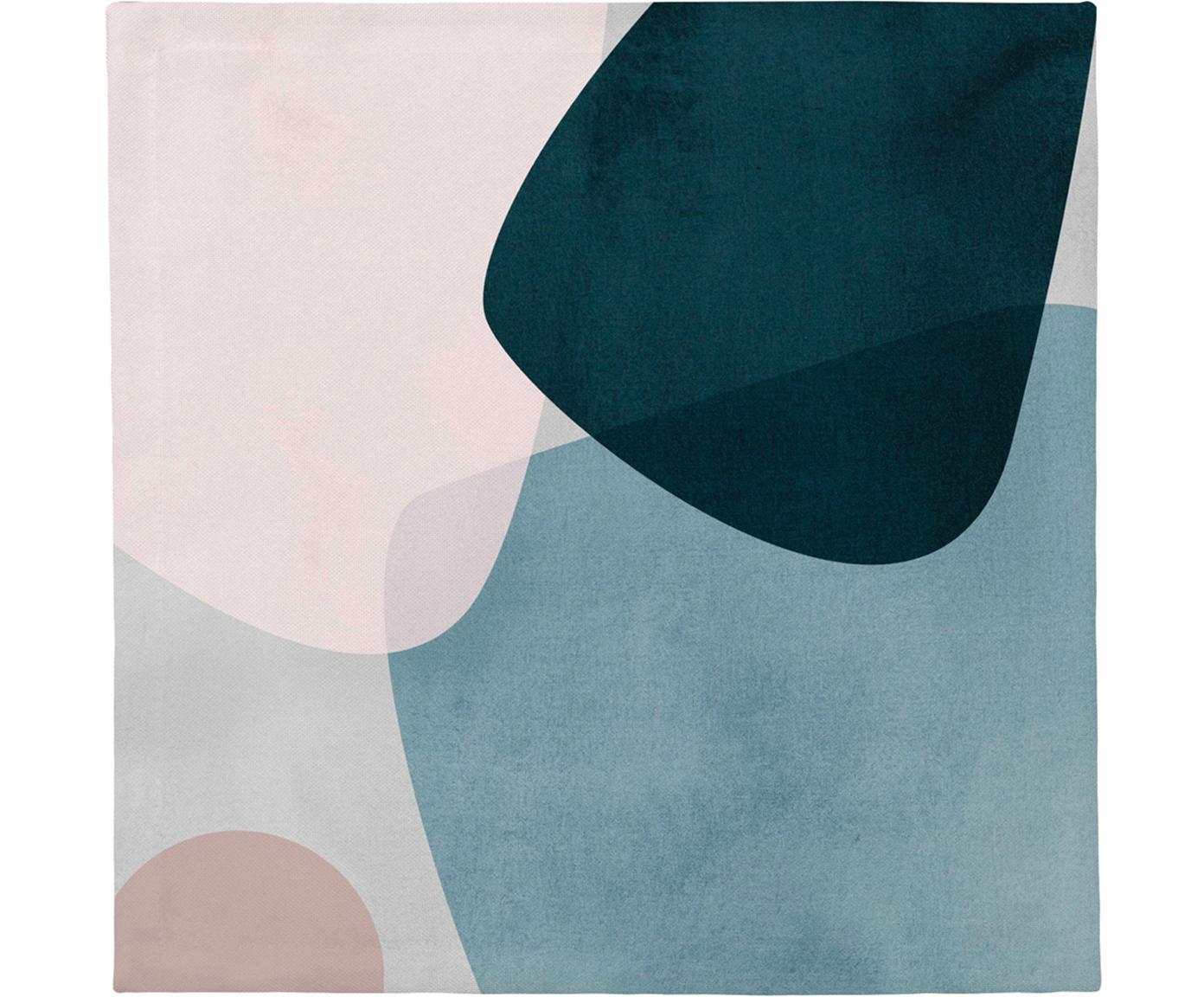 Stoffen servetten Graphic, 4 stuks, Katoen, Donkerblauw, blauw, grijs, roze, 40 x 40 cm