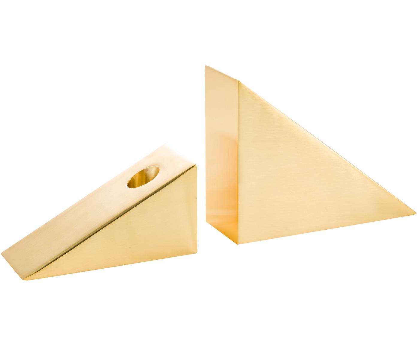 Set 2 candelabri Edge, Acciaio inossidabile, Dorato, Larg. 15 x Alt. 11 cm