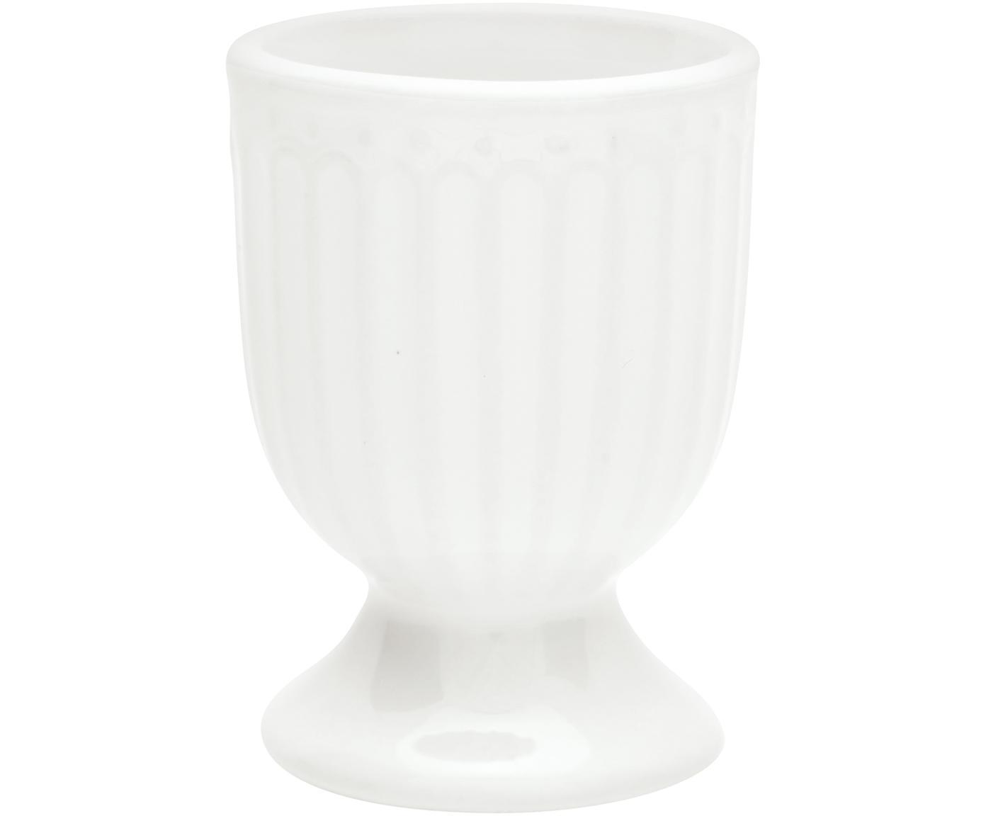 Soportes de huevo Alice, 2uds., Porcelana, Blanco, Ø 5 x Al 7 cm