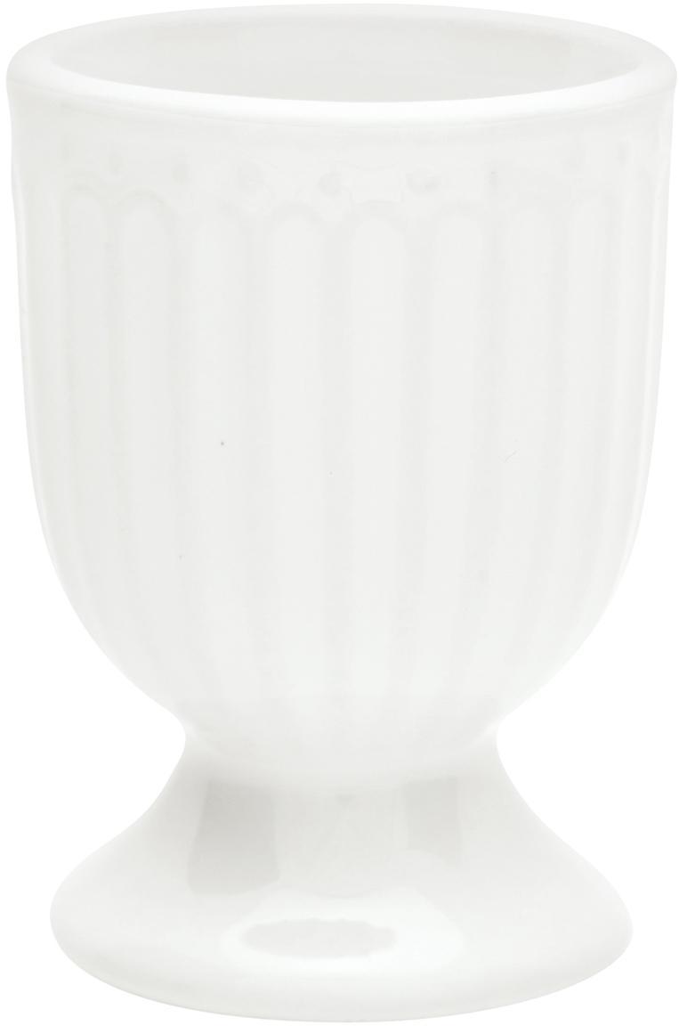 Handgefertigte Eierbecher Alice in Weiß mit Reliefdesign, 2 Stück, Steingut, Weiß, Ø 5 x H 7 cm