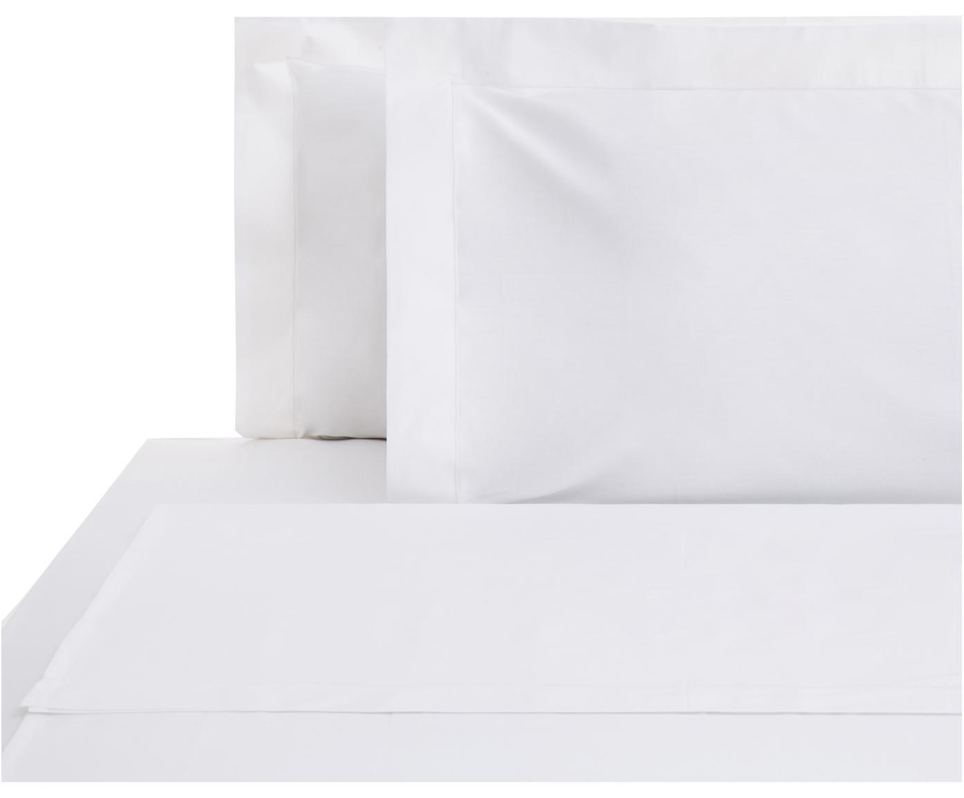 Set lenzuola in raso di cotone Cleo, 4 pz, Bianco, 260 x 295 cm