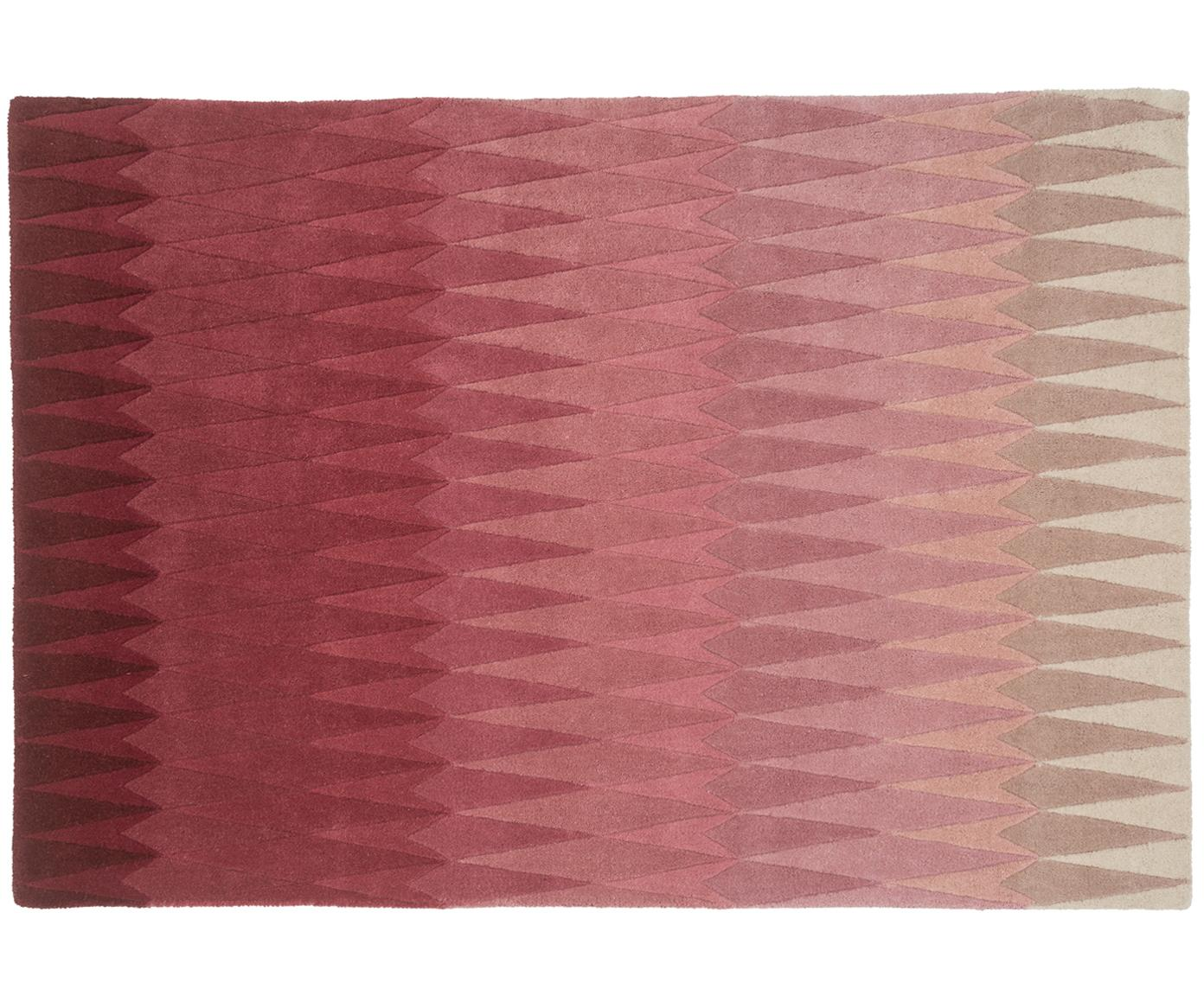 Alfombra artesanal de lana de diseño Acacia, Rosa, An 140 x L 200 cm (Tamaño S)