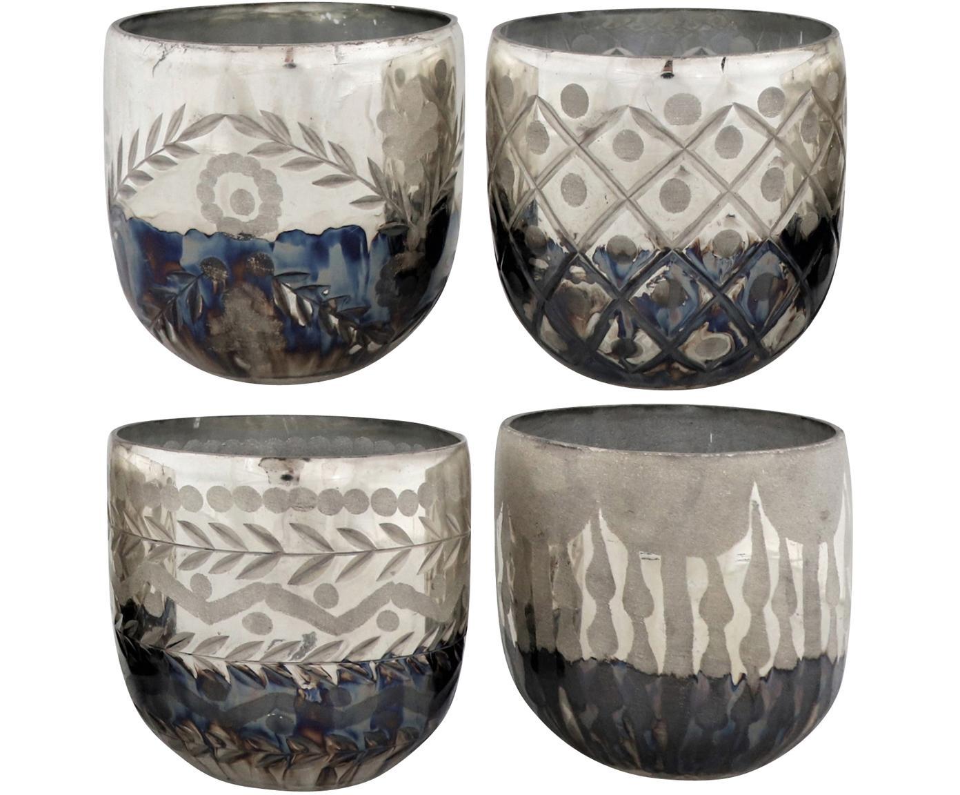 Windlicht-Set Excelsior, 4-tlg., Glas, Silberfarben, Anthrazit, Ø 10 x H 9 cm