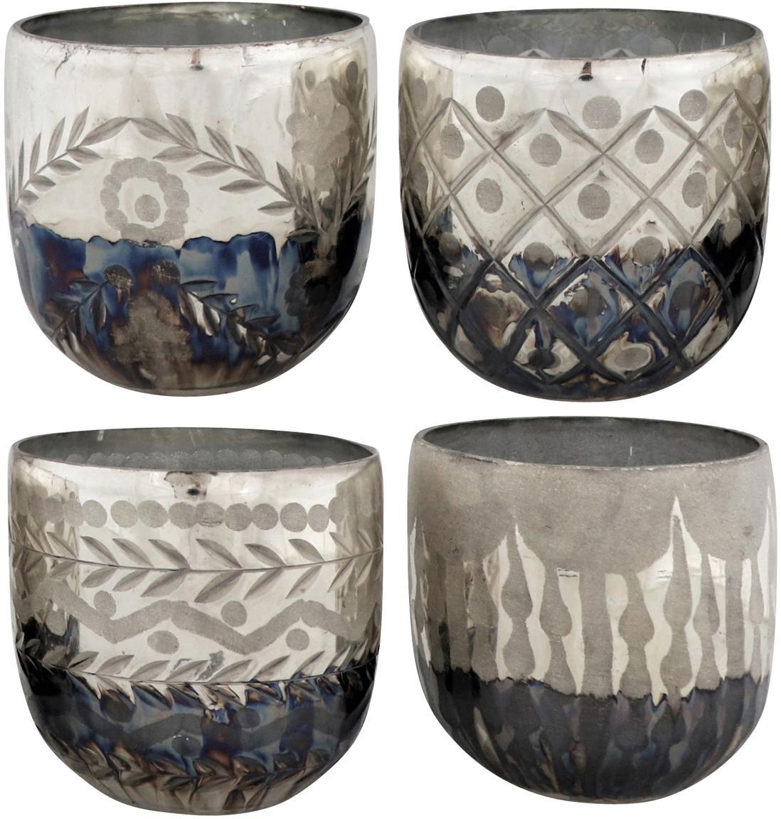 Windlichtenset Excelsior, 4-delig, Glas, Zilverkleurig, antraciet, Ø 10 x H 9 cm
