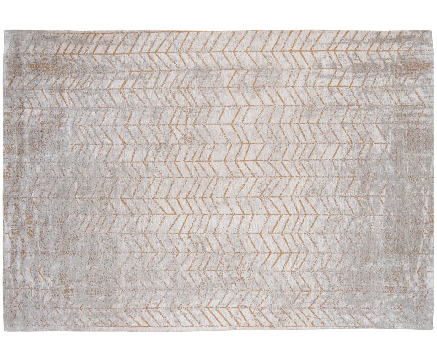 Alfombra J. Ladder, Parte superior: 85%algodón, 15%hilos de, Reverso: mezcla de algodón, recubi, Gris, blanco crudo, dorado, An 140 x L 200 cm (Tamaño S)