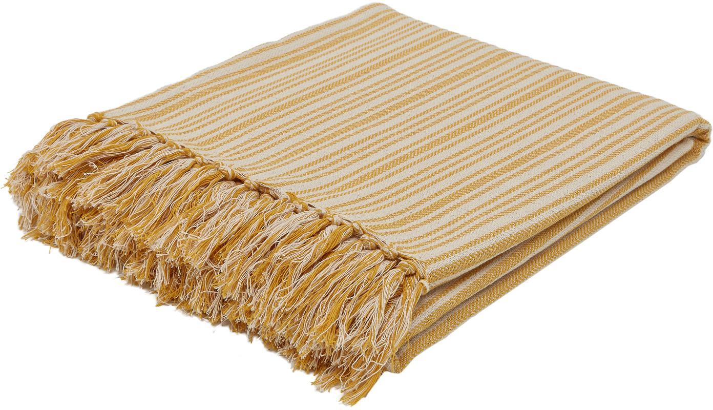 Colcha con flecos Puket, 100%algodón, Mostaza, blanco crudo, An 240 x L 260 cm