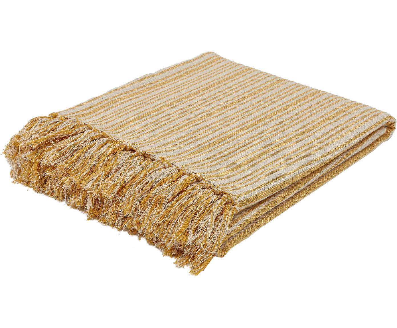 Gestreifte Tagesdecke Puket mit Fransen, 100% Baumwolle, Senfgelb, Gebrochenes Weiß, 240 x 260 cm
