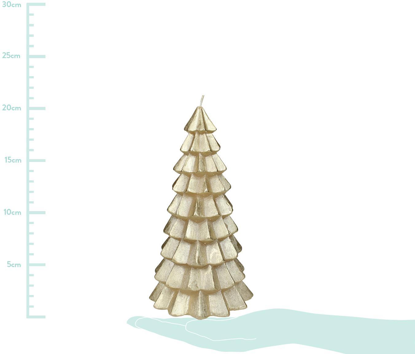 Kerze Christmas Tree, Paraffinwachs, Goldfarben, Ø 10 x H 20 cm