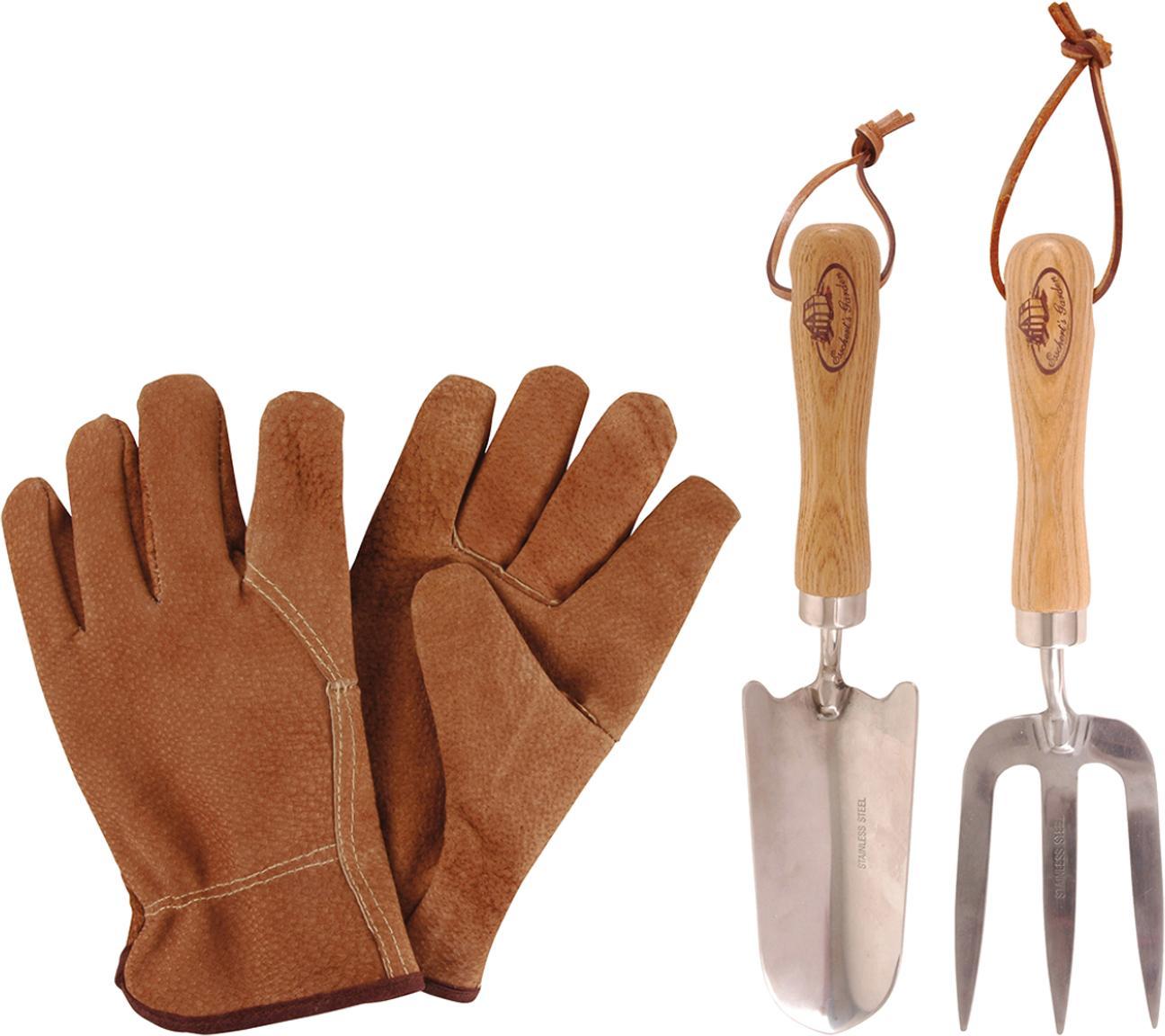 Set de herramientas para jardinería, 4pzas., Fresno, acero, An 36 x Al 34 cm