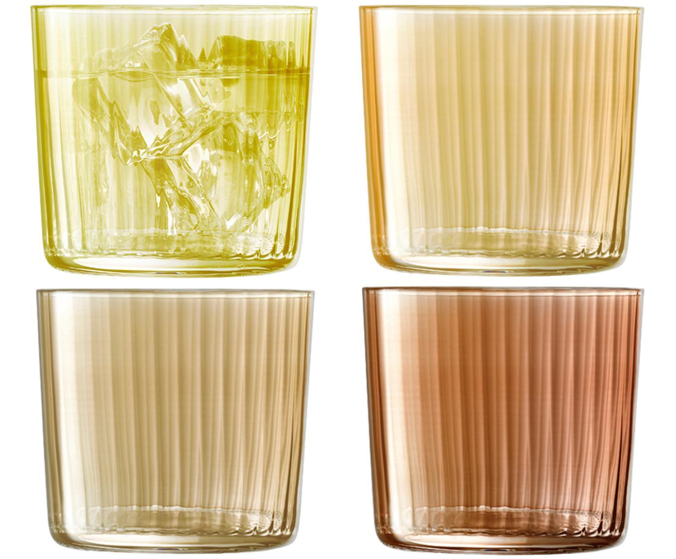 Vasos con relieve de vidrio soplados Gemas, 4uds., Vidrio soplado artesanalmente, Marrón, Ø 8 x Al 7 cm
