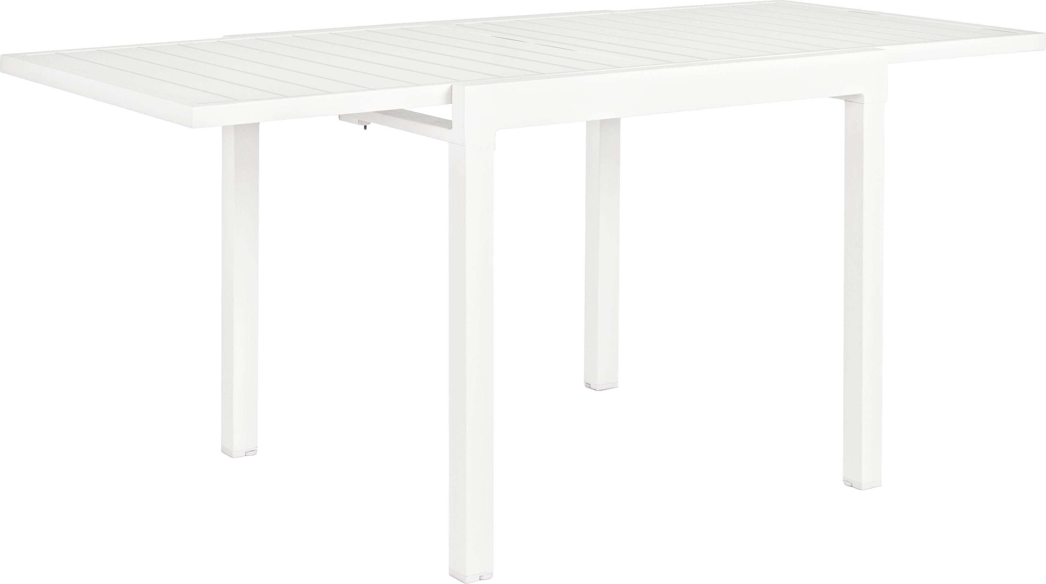 Rozkładany stół ogrodowy Pelagius, Aluminium malowane proszkowo, Biały, S 83 do 166 x G 80 cm