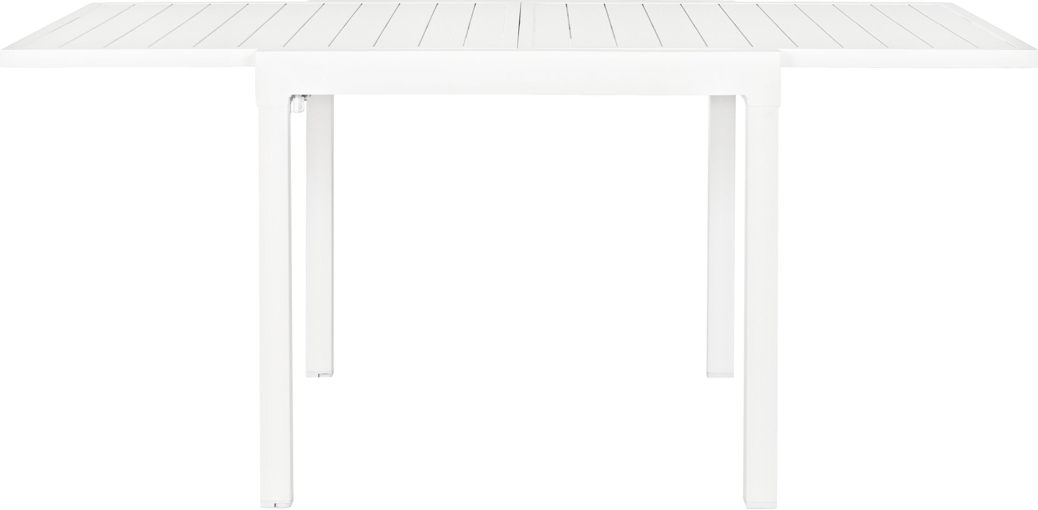 Tuintafel Pelagius, Gepoedercoat aluminium, Wit, B 83-166 x D 80 cm