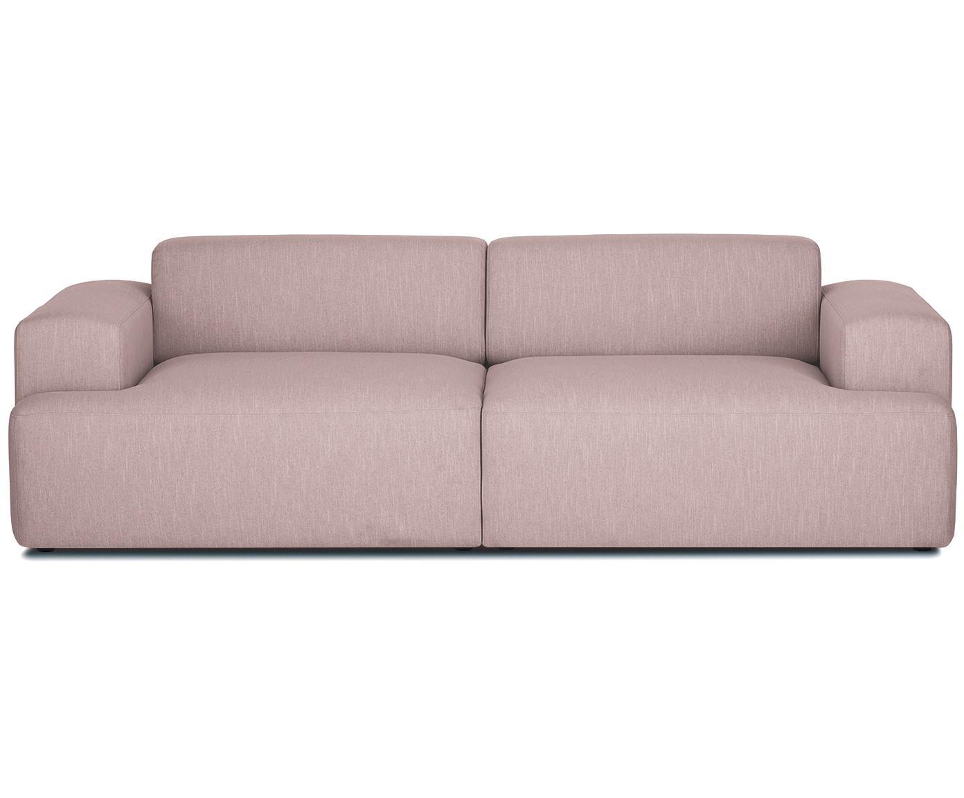 Bank Melva (3-zits), Bekleding: polyester, Frame: massief grenenhout, spaan, Poten: grenenhout, Geweven stof roze, B 240 x D 101 cm